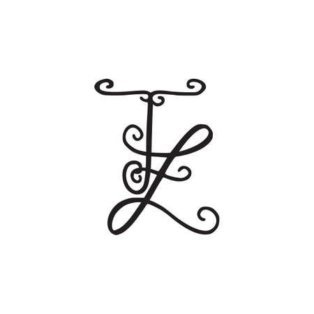 Handwritten monogram TZ icon, logo with swirls isolated on white background