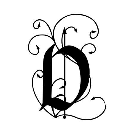 Letter D with arrows isolated on white background Stock Illustratie