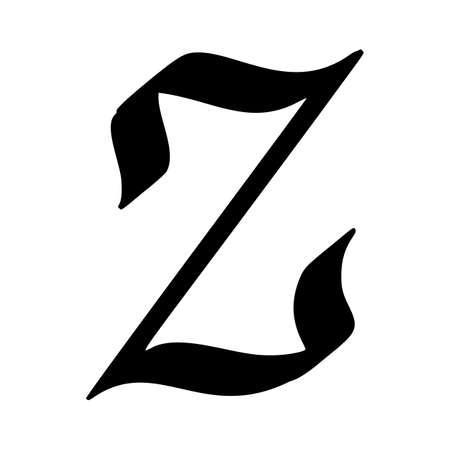 Letter Z painted  brush isolated on white background Vettoriali
