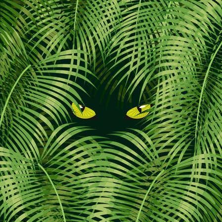 Occhi di gatto selvaggi che guardano dall'illustrazione verde di vettore della foresta pluviale