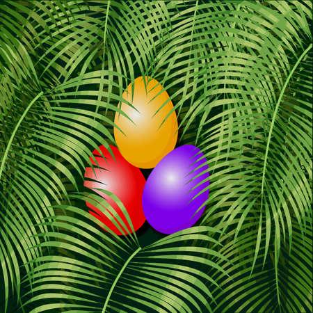 Easter eggs on the green rain forest Vector illustration.