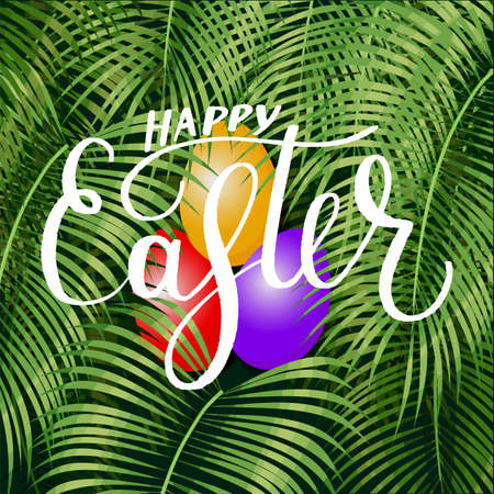 Happy Easter lettering  background with tropical palm leaves. Perfect for wallpapers, web page backgrounds, surface textures, textile. Illustration