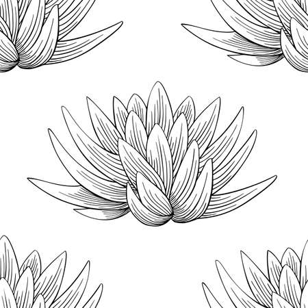 Lotus lily water flower seamless pattern in a vintage woodcut engraved etching style