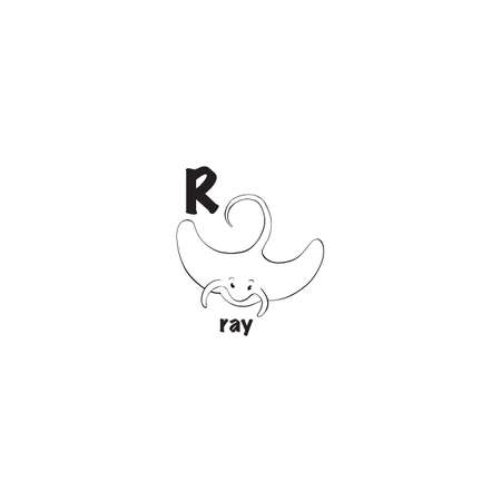 Ray coloring page isolated on white background