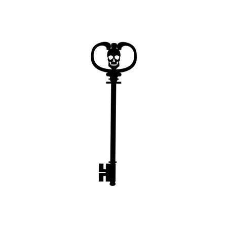 Key with skull icon isolated on white background Illustration