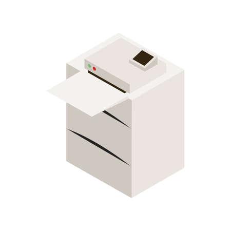 Isometria dell'icona della stampante laser dell'ufficio isolata su priorità bassa bianca