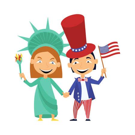 Meisje en jongen worstelen bij de handen op de feestdag van de presidentsdag van de VS.