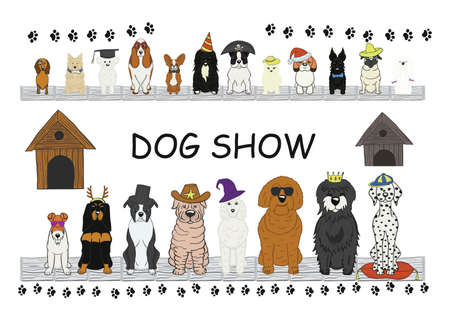 Different type of cartoon dogs. happy dog set Ilustração