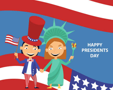 Greeting card with image of children and American flag.