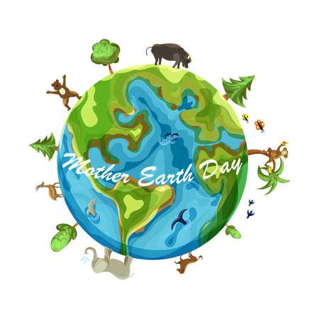 Mother earth day cartoon Earth Illustration on white background Ilustração