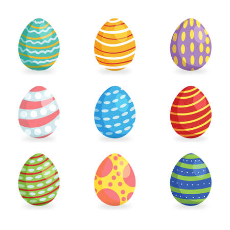 Easter eggs for Easter holidays design. Happy Easter day vector clip art for your design project. Vector icons flat style. 向量圖像