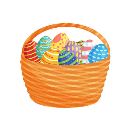 Easter eggs in a backet for holiday poster, banner, celebration printing, isolated on white background 向量圖像