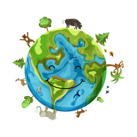 Cartoon Earth Illustration. Planet smile with animals, insects and trees.