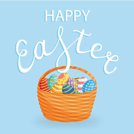 Easter eggs in a backet for holiday poster, banner, celebration printing, isolated on white background