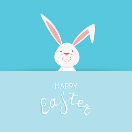 Easter greeting card with text happy easter and cute bunny rabbit looking