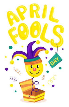 First april fool day, typography colorful background
