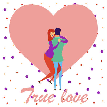 Greeting card with lovers. Young men and women characters in love hugging set, happy romantic loving couples cartoon Ilustrace