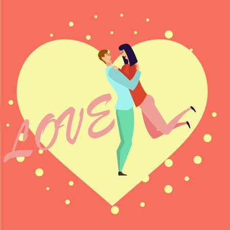 Greeting card with lovers. Young men and women characters in love hugging set, happy romantic loving couples cartoon Foto de archivo - 124991102