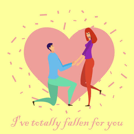 Greeting card with lovers. Young men and women characters in love hugging set, happy romantic loving couples cartoon Illustration