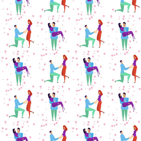 Seamless pattern with young men and women characters in love hugging set, happy romantic loving couples cartoon
