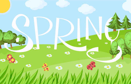 Spring cartoon landscape with trees and clouds, flowers and grass