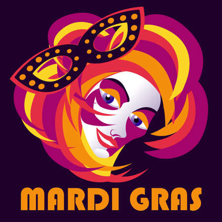 Carnival mask with feathers. Madrid Gras poster, greeting card, party invitation