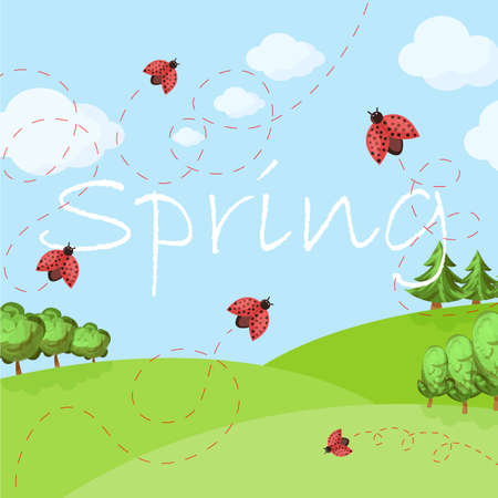 Spring cartoon landscape with trees and clouds, ladybug and grass