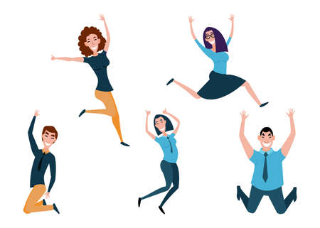 Business character people boy and girl jumping celebrating victory.