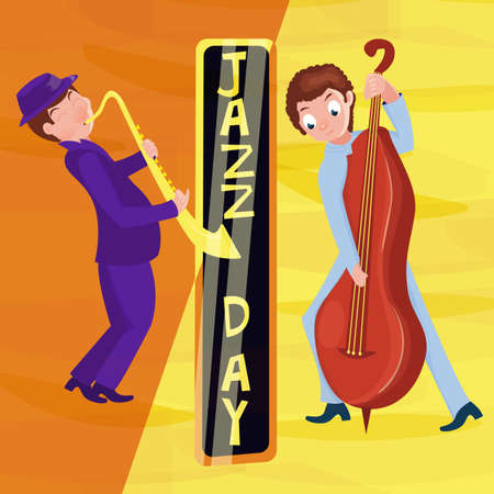 Jazz music festival poster with cartoon saxophonist. International Jazz Day. Vector hand drawn illustration.