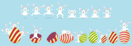 Collection of easter bunny and egg on blue background