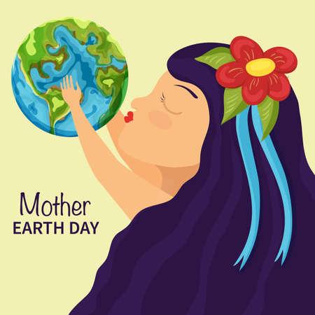 Little girl kiss earth. Mother earth day background Illusztráció