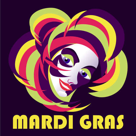 Carnival mask with feathers. Madrid Gras poster, greeting card, party invitation Standard-Bild - 124539553