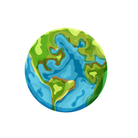 Cartoon earth. Vector clip art illustration on white background Illusztráció
