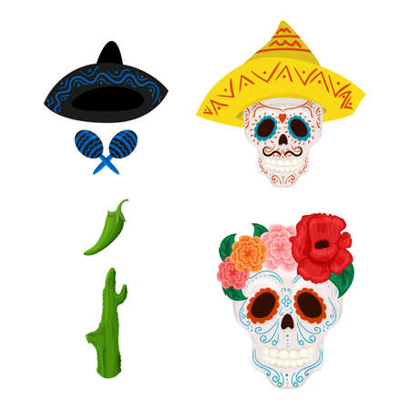 Mexican sugar skull illustration and objects for Cinco de Mayo