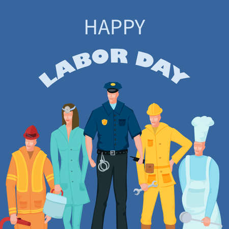 Labor Day poster with people of different occupations
