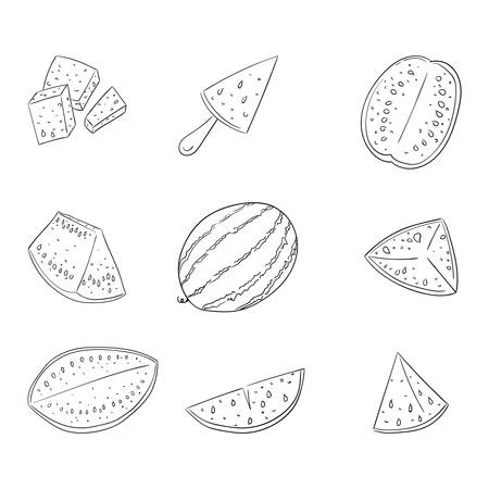 Watermelon whole and sliced outline illustrations set Stock Illustratie