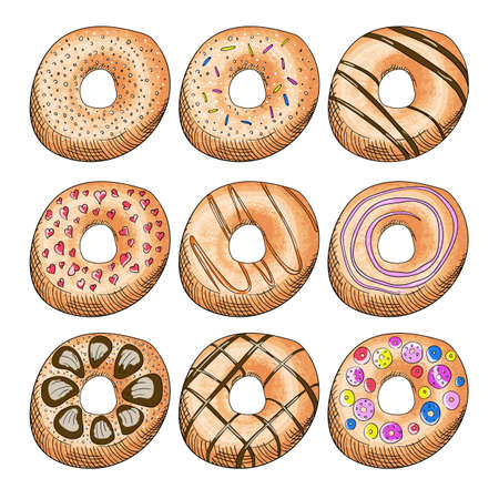 Donuts decorated with icing color illustrations set Stockfoto - 127904996