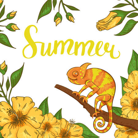 Abstract summer background with chameleon, hibiscus and plants. Stock Illustratie
