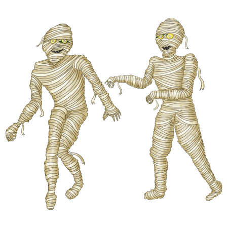 Egyptian mummy Boy in Halloween mummy costume laughing scarring.