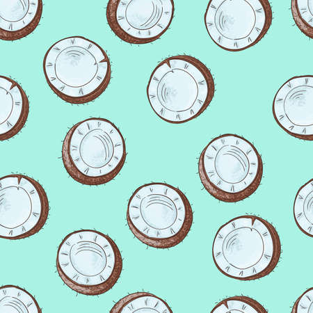 Seamless pattern with coconuts. Banner, poster, modern textile design. Stockfoto - 127905007