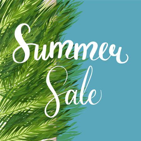 Seasonal summer sale palm leaves vector illustration.