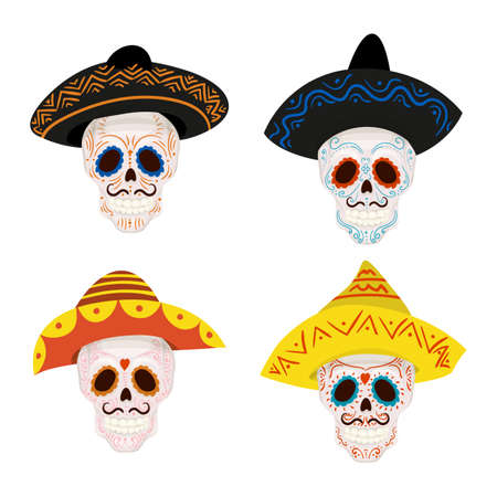 Cute male skull with mustache and sombrero hat