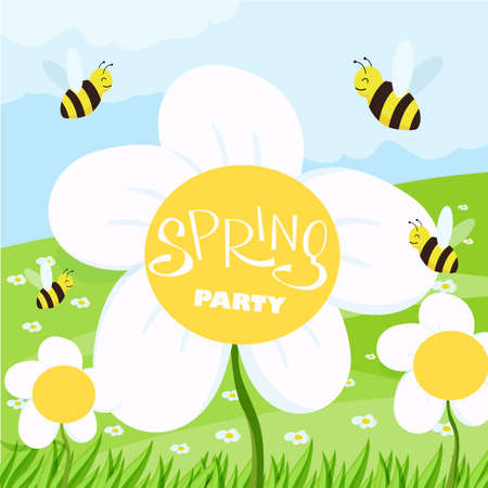 Spring party cartoon landscape with trees and clouds, flowers and grass Stock Illustratie