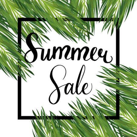 Summer seasonal sale vector template. Discount banner with palm leaves. Floral social media post with copyspace. Card with realistic palm leaves concept. Geometric frame on white background Stockfoto - 126991371