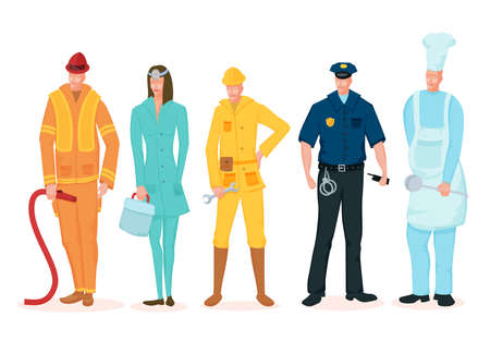 Labor Day. A group of people of different professions on a white background.
