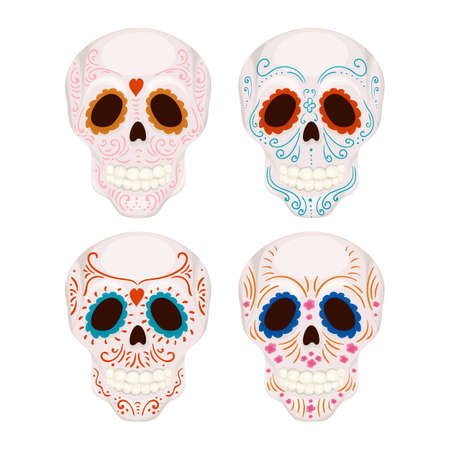Cartoon Mexican sugar skull with traditional patterns illustration for Day of the Dead