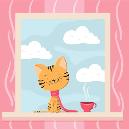 Cute kitten in a scarf and a cup of tea is sitting on the windowsill
