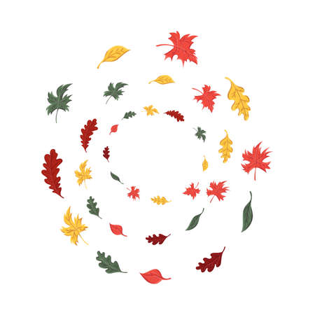 autumn leaves set, isolated on white background. simple cartoon flat style