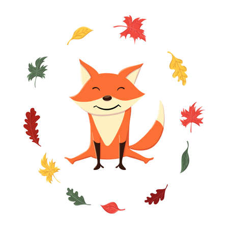 Cute and funny fox in the autumn leaves