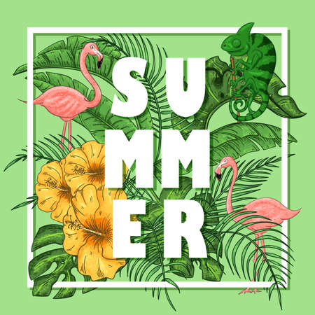 Tropical summer arrangement with flamingos and chameleon, palm leaves and exotic fruts. Vector illustration. Stockfoto - 127541684
